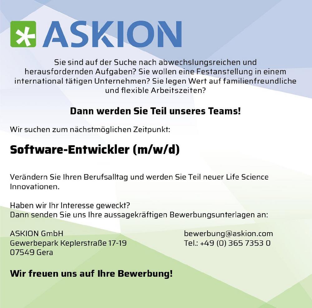 Software-Entwickler (m/w/d) (Vollzeit | Gera)