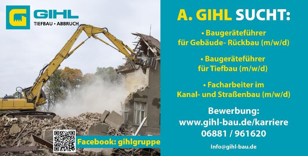 Baugeräteführer für Gebäude- Rückbau m/w/d (Vollzeit | Eppelborn)